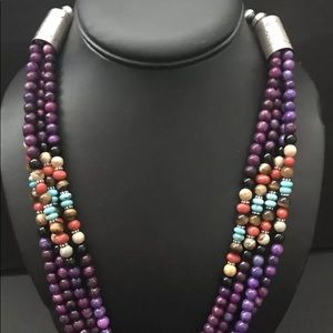 Jewelry - Sterling Silver  3 Strand Sugilite  Bead Necklace